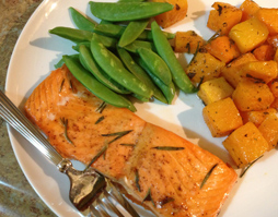 TROUT WITH OVEN-ROASTED BUTTERNUT SQUASH AND SWEET POTATOES