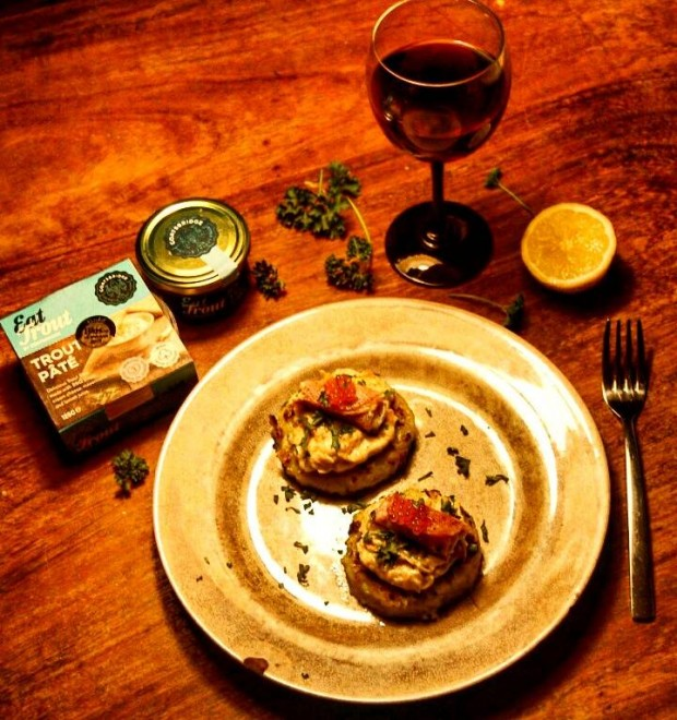 Potato Cakes with Goatsbridge Trout Pate and Caviar