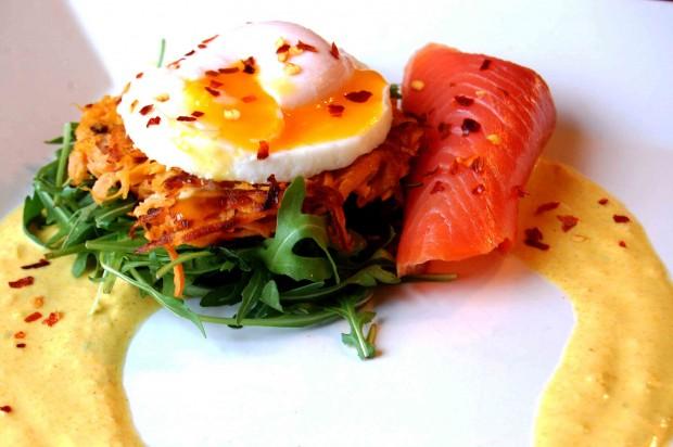 Sweet potato rosti, Goatsbridge rainbow trout and poached egg recipe