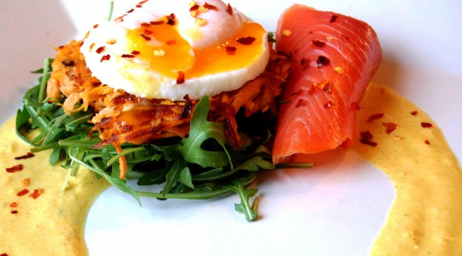 Sweet potato rosti, Goatsbridge rainbow trout and poached egg recipe