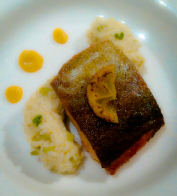 Goatsbridge Trout with Lemon Risotto and butternut squash puree recipe
