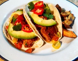 Rainbow Trout Taco with Baked Sweet Potato