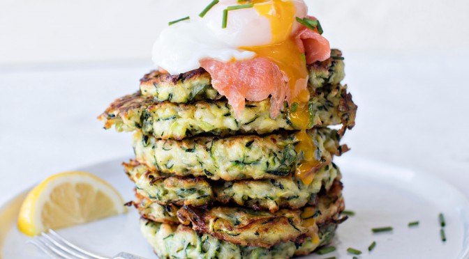 Courgette Fritters with Smoked Trout & Poached Egg Recipe