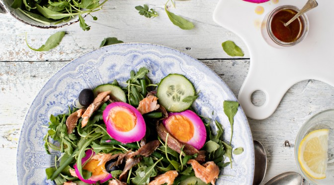 Smoked Rainbow Trout Nicoise with Pink Pickled Eggs Recipe
