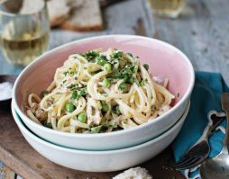 Linguine with Smoked Trout & Petit Pois Recipe