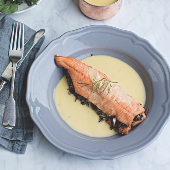 Trout with Black Pudding and Beurre Blanc