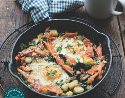 Smoked Trout Irish Potato Hash with Eggs