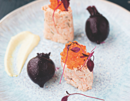 Poached Trout with Caviar, Baby Beets and Saffron Mayo