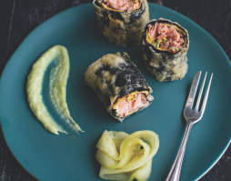 Tempura Trout Rolled in Nori Seaweed – with wasabi aioli