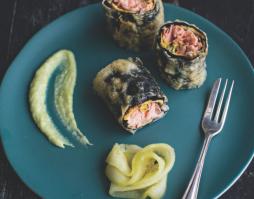 Tempura Trout Rolled in Nori Seaweed – with wasabi aioli