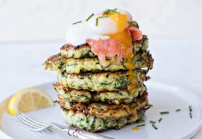Courgette Fritter with Cold Smoked trout