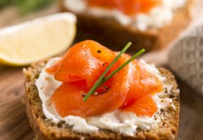 Rainbow smoked trout on brown bread